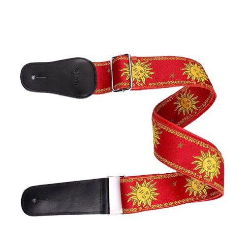 Sangle guitare électrique jacquard soleil rouge