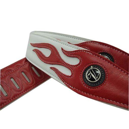 Sangle guitare en cuir pour basses couleur blanc motif flamme rouge