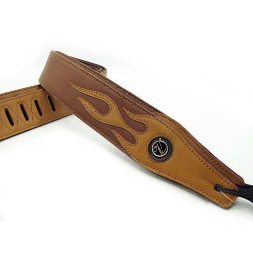 Sangle guitare en cuir pour basses couleur marron motif flamme beige