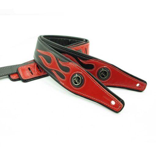 Sangle guitare en cuir pour basses couleur noir motif flamme rouge