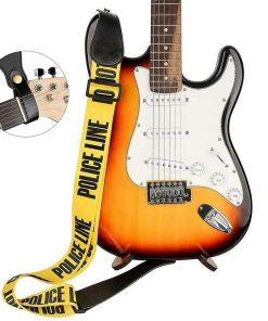 Sangle guitare classique/électrique jaune polyester avec extrémités en cuir