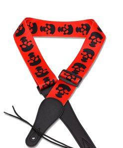 Sangle de guitare tête de mort rouge et noir