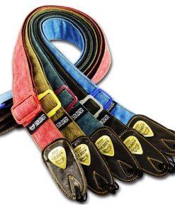 Sangle de guitare en coton avec extremités en cuir divers coloris