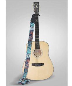 Sangle de guitare vintage polyester avec bouton de fixation pour sangle