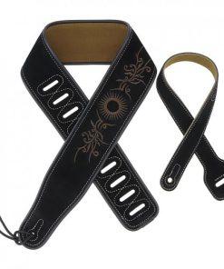 Sangle guitare en cuir noir brodée motif fleur